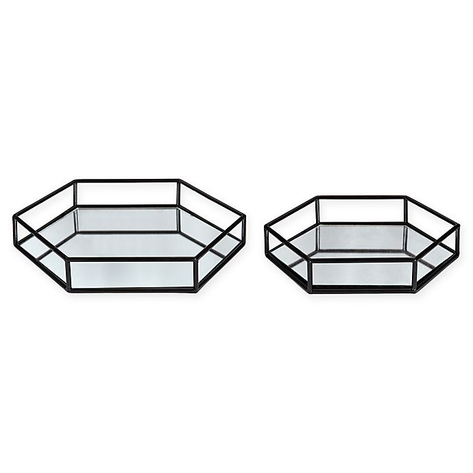 Alternate image 1 for Kate and Laurel Felicia Mirrored Hexagonal Trays (Set of 2)