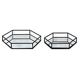 Kate and Laurel Felicia Mirrored Hexagonal Trays (Set of 2)