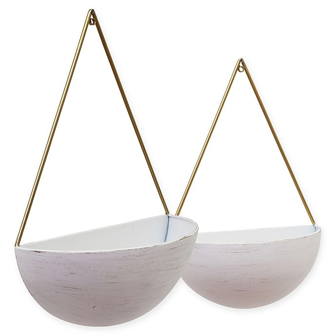Sagebrook Home Half Moon Iron Wall Planters In White Gold Set Of 2