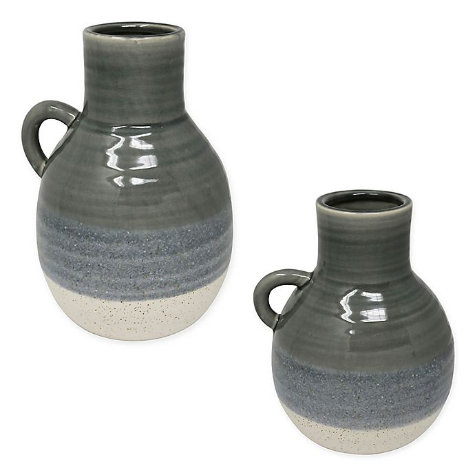 Alternate image 1 for Sagebrook Home Ombré Glazed Ceramic Jug in Green/White