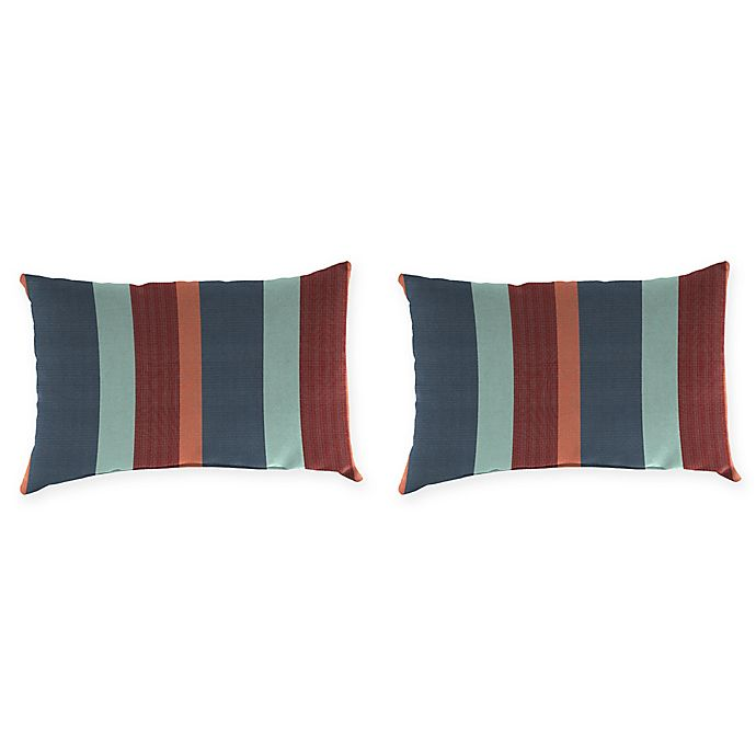 Alternate image 1 for Stripe Outdoor Lumbar Throw Pillow in Sunbrella® Fabric (Set of 2)