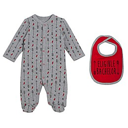 babyGEAR™ 2-Piece Arrow Footie and Bib Set in Grey