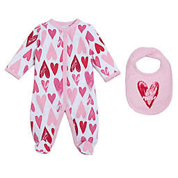 "babyGEAR™ 2-Piece ""Be Mine"" Footie and Bib Set in Pink"