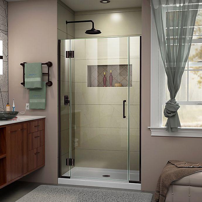 Alternate image 1 for DreamLine Unidoor-X 37-37.5-Inch Frameless Hinged Shower Door in Oil Brushed Bronze