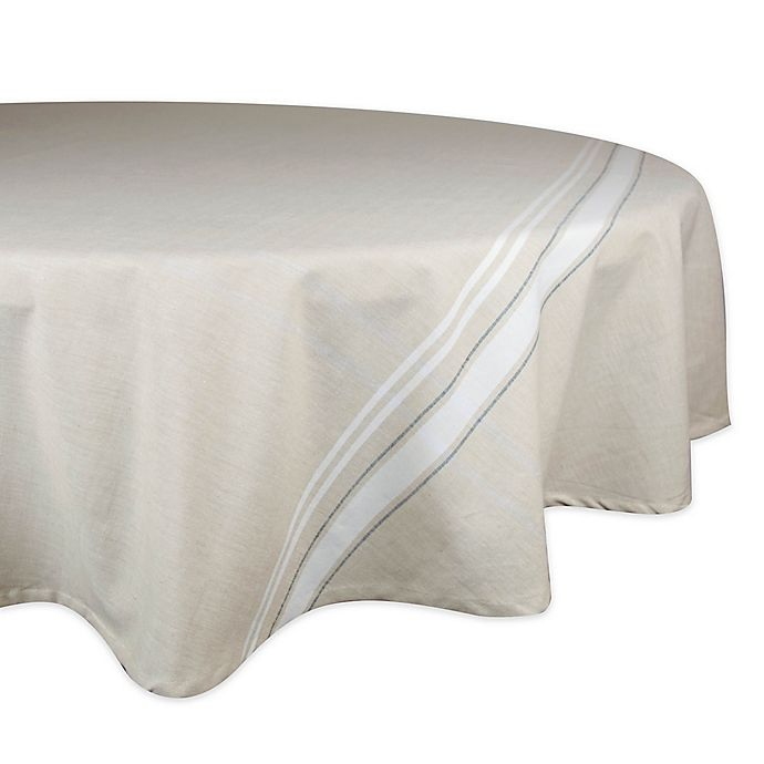 Alternate image 1 for Design Imports French Stripe 70-Inch Round Tablecloth in White