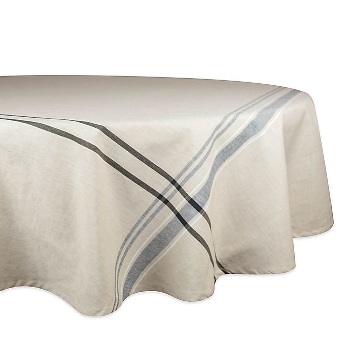 Alternate image 1 for Design Imports French Stripe 70-Inch Round Tablecloth in Black