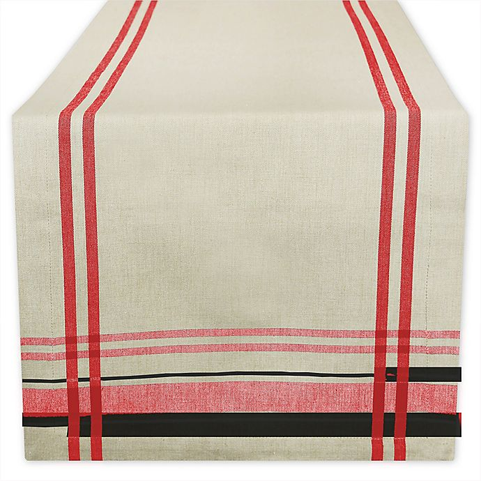 Alternate image 1 for Design Imports French Stripe 108-Inch Table Runner in Tango Red