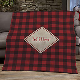 Cozy Cabin Buffalo Check Fleece Throw Blanket in Red