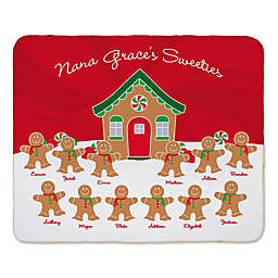 Gingerbread Family Sherpa 60-Inch x 80-Inch Throw Blanket in Red