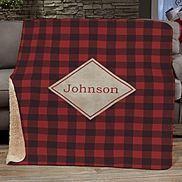 Cozy Cabin Personalized Buffalo Check Throw Blanket in Red