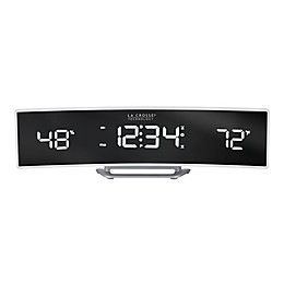 La Crosse Technology Curved LED Alarm Clock with Mirrored Lens in White
