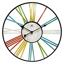 Infinity Instruments Wagon Wheel 27-Inch Multicolor Wall Clock