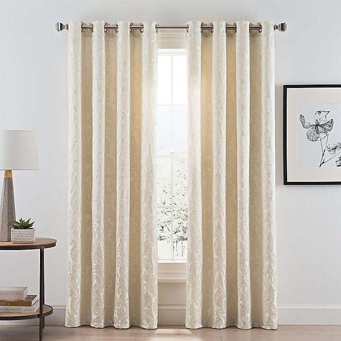 Alternate image 1 for Acanthus Grommet Room Darkening 108-Inch Window Curtain Panel in Ivory