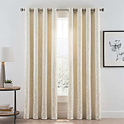 Acanthus Grommet Room Darkening Window Curtain Panel in Ivory