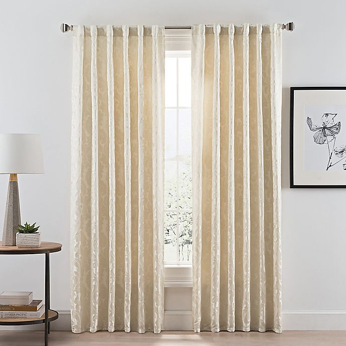 Alternate image 1 for Acanthus Rod Pocket/Back Tab Room Darkening 95-Inch Window Curtain Panel in Ivory