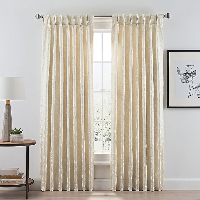 Alternate image 1 for Acanthus Pinch Pleat/Back Tab Room Darkening 108-Inch Window Curtain Panel in Ivory
