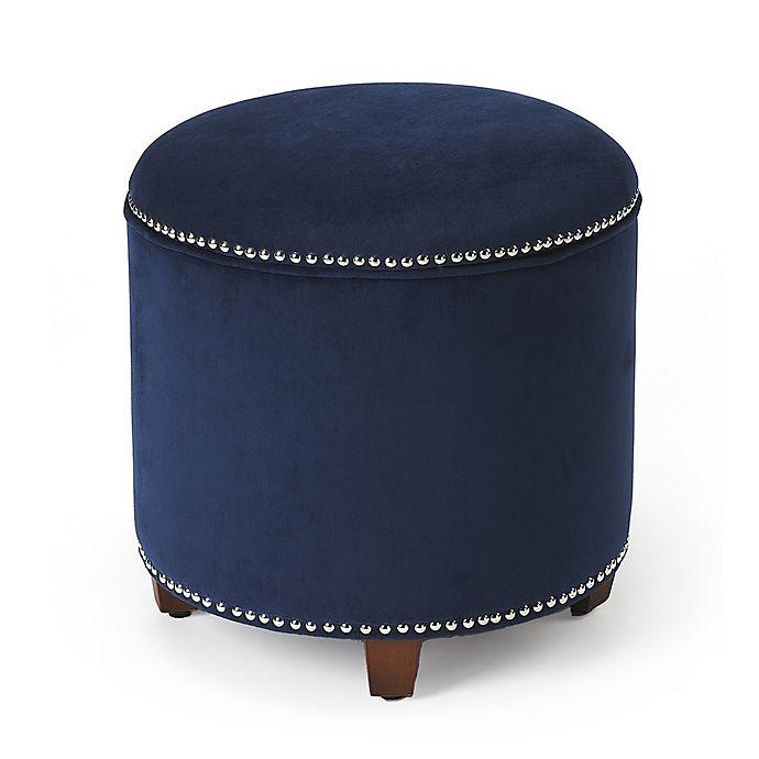 Alternate image 1 for Butler Specialty Company Velvet Storage Ottoman in Blue