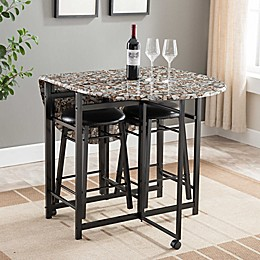 Faux Marble Counter-Height 3-Piece Dinette Set