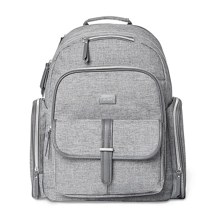 Alternate image 1 for carter's® Stow Away Diaper Bag Backpack in Heather Grey