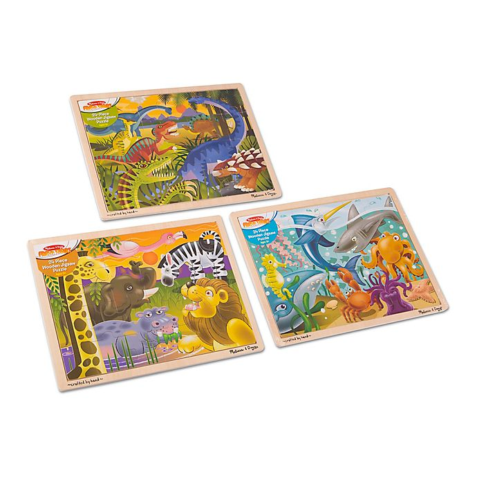 Alternate image 1 for Melissa & Doug® 3-Pack Animal-Themed Classic Wooden Jigsaw Puzzles