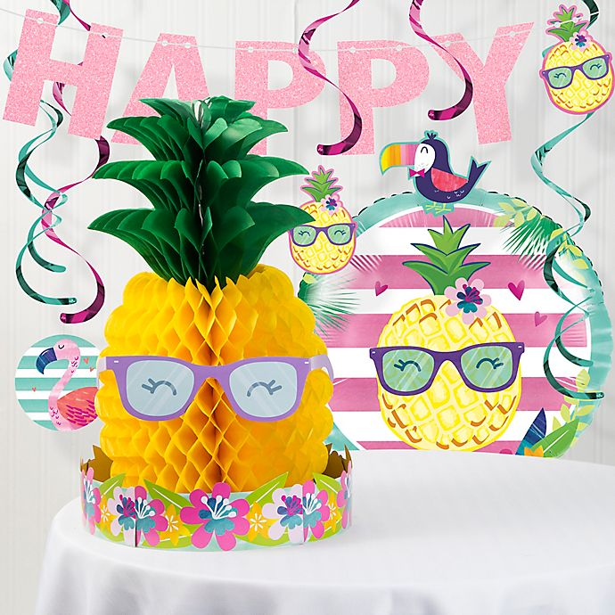 Alternate image 1 for Creative Converting™ 8-Piece Pineapple Party Decorations Kit