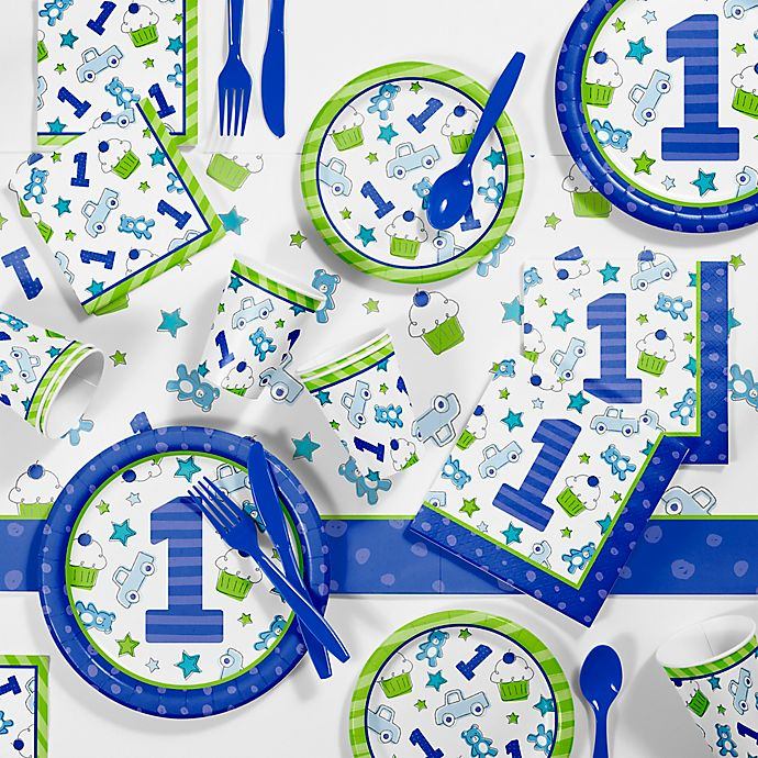 Creative ConvertingTM 81 Piece Doodle 1st Birthday Boy Party Supplies