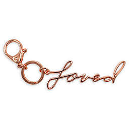 "Itzy Ritzy® ""Loved"" Key Charm in Rose Gold"