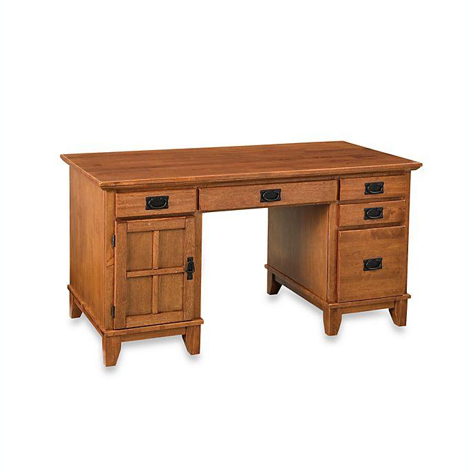 Alternate image 1 for Home Styles Arts & Crafts Pedestal Desk in Cottage Oak Finish