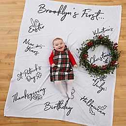 Baby's First Holiday Milestone Fleece Blanket