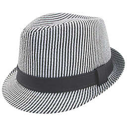 Addie & Tate Seersucker Fedora in Grey/White