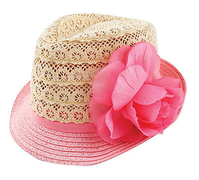 Addie & Tate Crochet Lace Fedora Hat in Pink