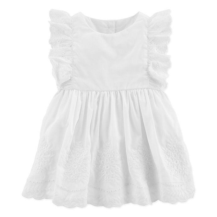 Alternate image 1 for OshKosh B'gosh® Sleeveless Woven Dress in White