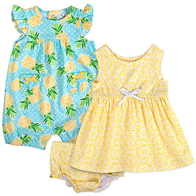 Baby Essentials 3-Piece Pineapple Romper, Dress, and Diaper Cover Set in Yellow