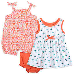 Baby Essentials 3-Piece Palm Tree Dress, Romper, and Diaper Cover Set in Coral