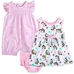 Baby Essentials 3-Piece Unicorn Dress, Romper, and Diaper Cover Set in Pink