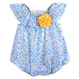 Baby Essentials® Daisy Ruffle Shoulder Romper in Blue