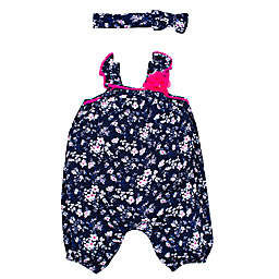 Nannette Baby® 2-Piece Floral Romper and Headband Set