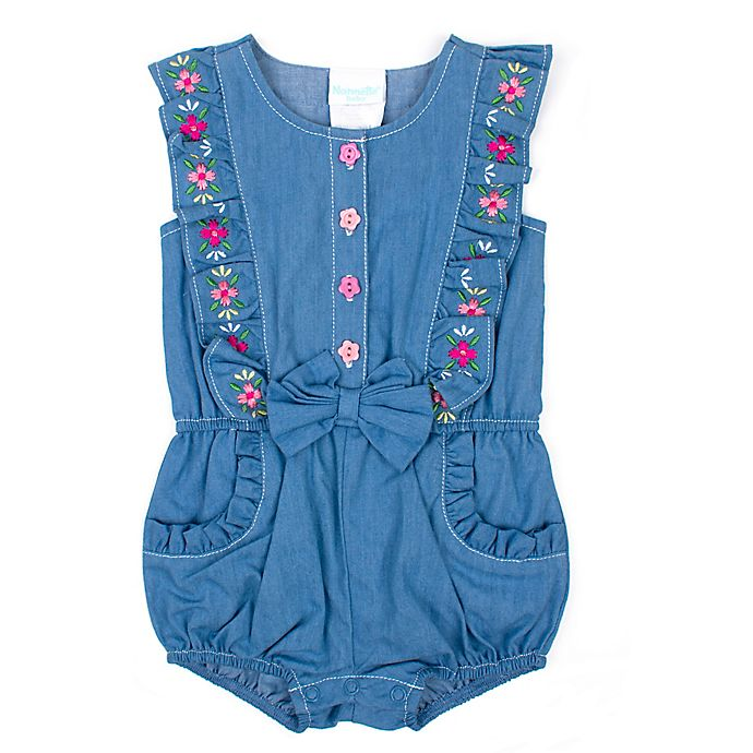 Alternate image 1 for Nanette Baby® Flower Embroidered Romper in Blue
