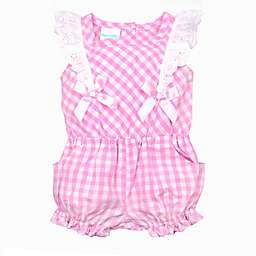 Nanette Baby® Plaid Eyelet Romper in Pink