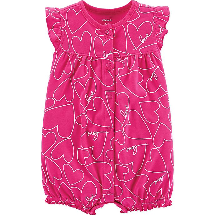 Alternate image 1 for carter's® Heart Snap-Up Romper in Pink