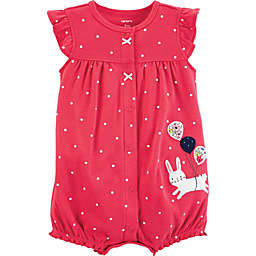 carter's® Polka Dots Bunny Snap-Up Romper in Red