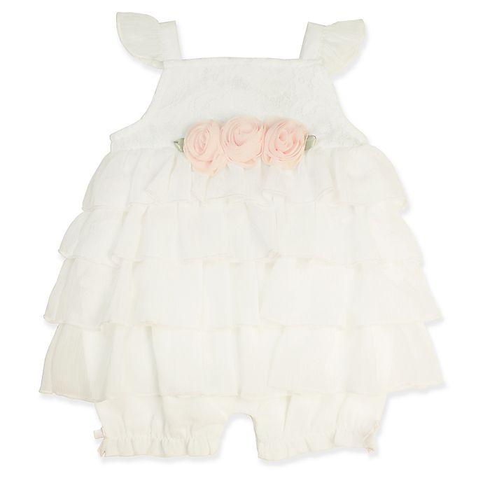 Alternate image 1 for Clasix Beginnings® Newbornn Chiffon Ruffle Romper in Ivory