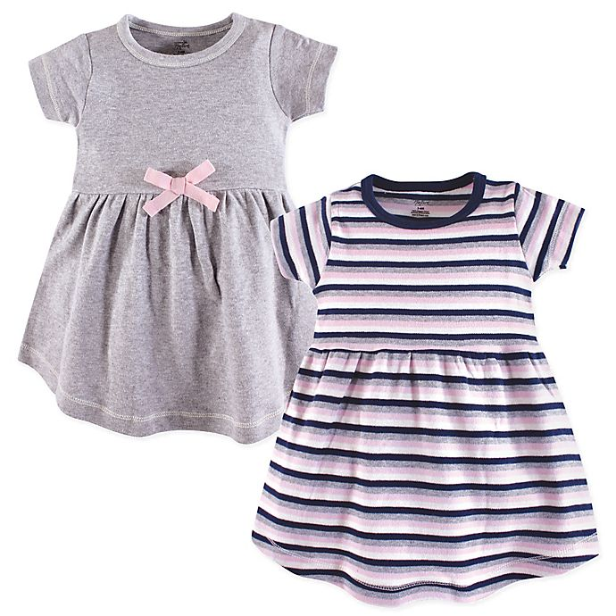 Alternate image 1 for Touched by Nature Size 0-3M 2-Pack Short Sleeve Dresses in Grey