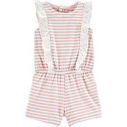 carter's® Striped Ruffle Romper in Red
