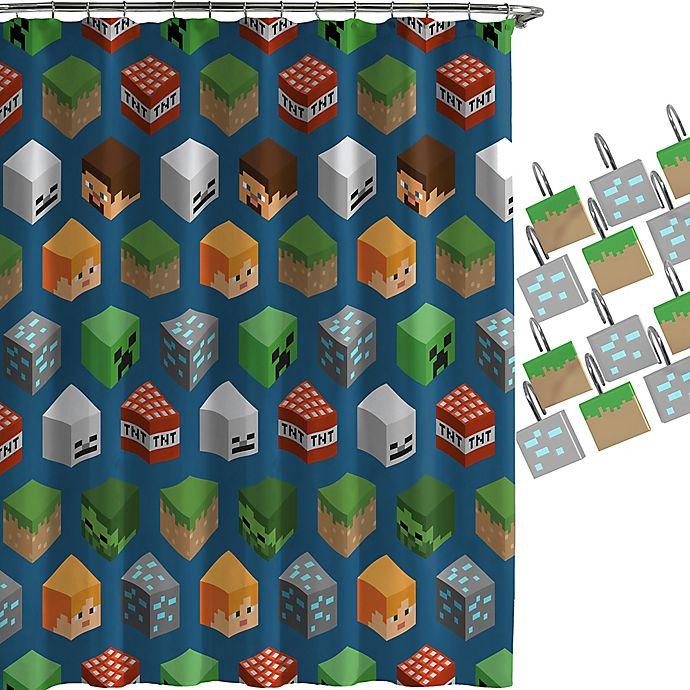 Alternate image 1 for Minecraft Isometric Shower Curtain and Hooks Set