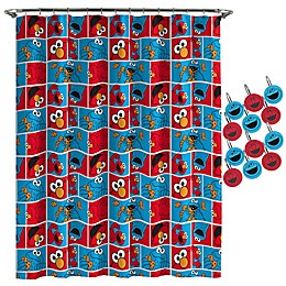 Sesame Street® Elmo Cookie Shower Curtain and Hooks Set