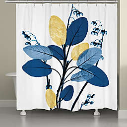 Laural Home® Blue and Gilded Leaves Shower Curtain