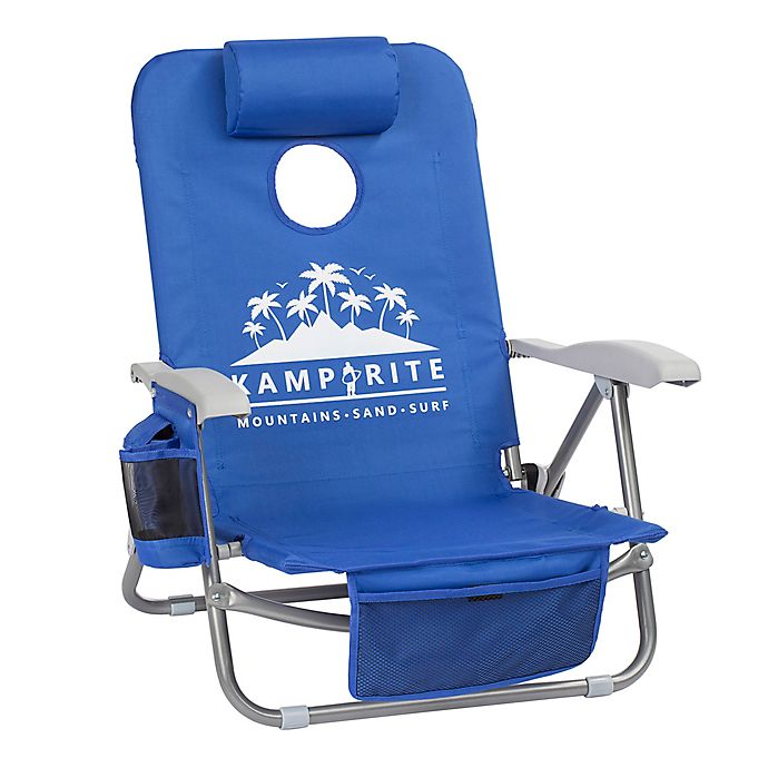 Alternate image 1 for Kamp-Rite® SAC-IT-UP™ Cornhole Beach Chair in Blue