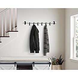 Bee & Willow™ Home Wall Mount 6-Hook Rack in White Wash