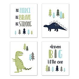 Sweet Jojo Designs® Mod Dinosaur 8-Inch x 10-Inch Wall Art (Set of 4)